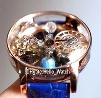 V2 النسخة الثابتة EPIC X Chrono CR7 الفلكي Tourbillon الهيكل العظمي Aventurine الطلب السويسري كوارتز رجالي ووتش الصلب روز الذهب hello_watch a02