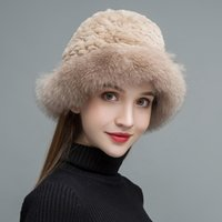 Wholesale-NH Real Fur Hats for Women Black Natural Rex Fur Caps Female Fashion Hat Warm In The Winter New Arrival MZW025
