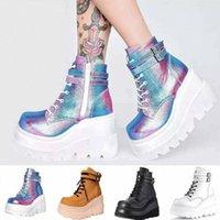 Knöchelstiefel für Frauen Luxus Leder Herbst Plattform Stiefel Keile Frauen Mode Schnürung Gummi Gotische Schuhe # TS5i