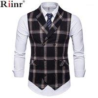 Gilets pour hommes RIINR 2021 SLIM FIT MENS Gilet Casual Coscons Casual Vest Hommes Style Plaid Style Chalecos Hombre Business Robe sans manches Gilet1