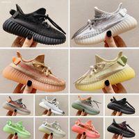 Yeezy 350 V2 Boy Kız Bebek CHAUSSURES için Çocuk Ayakkabı Çocuk Basketbol Ayakkabı Kurt Gri Bebek Sport Sneakers Enfant dökün