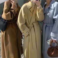 Простота Женщин Шерстяные Пальто Мода Зимняя шерстяная Смесись Верхняя одежда Сплошной ограды Шея Длинное пальто Моранди Теплые наряды