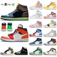 nike air jordan 1 2020 com caixa jumpman 1 1s homens tênis de basquete alta OG Black Gold Chicago Mens Womens Hot Selling Sneakers