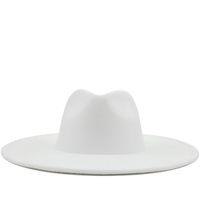 جديد البريطانية نمط الشتاء الصوف الصلبة الكلاسيكية فيدوراس كاب الرجال النساء بنما الجاز قبعة 9.5 سنتيمتر واسعة بريم فيدوراس بيضاء بيضاء 201028