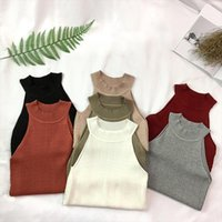 Knit Camis Top Women Knitting Off Cortar tanque ombro Tops meninas malha camisola curto sem mangas T-shirt para a mulher