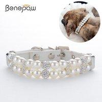 Colliers de chien Laisses Benepaw Mode Collier de perles Collier élégant cristal strass en cuir PU Sangle réglable pour la fête d'anniversaire de mariage