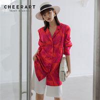 CHEERART Fall Red Blazer Women Long Sleeve Floral Print Satin Long Blazer Lace Up Fashion Blazer Coats And Jackets Designer Y201026