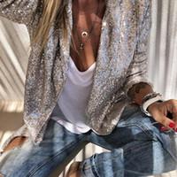Costumes pour femmes blazers paillettes à manches longues mode femme brillant fête blazer manteau argent casual manche veste femme chimise d40