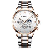 2020New نمط crriju كرونوغراف الكوارتز ساعة الرجال أزياء بسيطة عارضة اللباس الفولاذ المقاوم للصدأ الساعات 30 متر اليومية ماء ماء relogio 2159