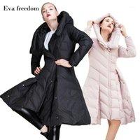 EVA Freedom down пальто зима женщин вниз куртка с капюшоном Slim большая юбка маятник с капюшоном женская модная куртка EF180061