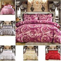 Комплект роскошных постельных принадлежностей 2 или 3шт. Сатин Жаккардовый подоюзные наборы с застежкой на молнии 1 Крышка одеяла + 1/2 наволочки США / ЕС / AU Размер