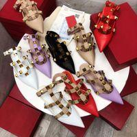 Hohe Qualität Mode Frühling und Sommer Neue Baotou Niedrige Ferse Rindsleder Zeigte Womens Half Slipper Dekoration Damen Sandalen Größe 35-40