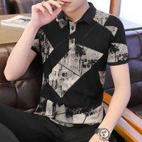 2020 Vêtements de marque Été Mode Mode Homme Couleur Impression courte Chemises à manches courtes / Homme Slim Fit Loisirs Polo Chemises Taille S-3XL