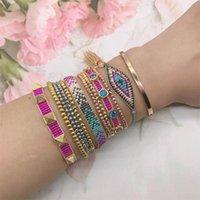 Zhongvi Perle Armband Multilayer Miyuki Perlen Geflochtene böse Augenarmbänder Set Perlen Zirkon Kette gewebt einstellbar Armband Sets
