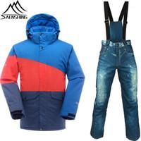Лыжные куртки Saenshing лыжный костюм мужчины зимняя куртка + снежные джинсовые брюки водонепроницаемые утолщение теплые сноуборд костюмы открытый одежда1