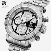 Reloj de Pulera Deportivo Para Hombre T5, Cronógrafo de Cuarzo Dorado Rosa, Résistente Al Agua, Masculino