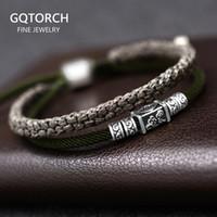 925 Gümüş Şanslı Charm Bilezik Erkekler Için Örgülü Çift Katmanlar Ayarlanabilir Tibet El Yapımı Knot Şanslı Halat Bilezik Kişiselleştirilmiş 1028