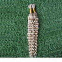 100g # 60 플래티넘 금발 브라질 제리 곱슬 머리 땋은 머리카락 확장 없음 Weft 1 PC 10-26 인간의 머리카락 대량 25cm-65cm