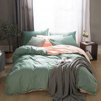 2020 New Home Biancheria da letto in lino massello 100% cotone AB copertura piumino lato breve stile Bedclothes 3 / 4pcs set letto T200706