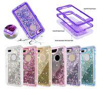 3 في 1 بريق السائل QuickSand Case Bling Crystal Robot DefoT Cass Cases for iPhone 11 Pro Max XR XS 8 7 6S Plus Samsung