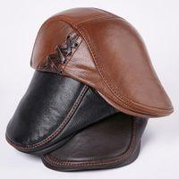 Berets HT3500 Beret Cap 남자 가을 겨울 모자 고품질 정품 가죽 아이비 Sboy 플랫 아티스트 화가