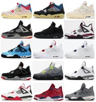 4s Union 4 Preto Rosa OW Bred Sail Black Cat Paris Metallic néon roxo Men Basketball Shoes Pure dinheiro FIBA ​​Branco Cimento Sports Sapatilhas
