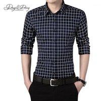 남자 드레스 셔츠 도매 - 2021 남자 셔츠 봄 패션 고품질 긴 소매 캐주얼 브랜드 디자이너 남성 격자 무늬 작업 5 색 M-5XL D
