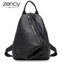 Зенность ретро женщин рюкзак мягкая натуральная кожа классическая большая емкость knaxackack туристическая сумка против кражи скрытая школьная сумка для девочек