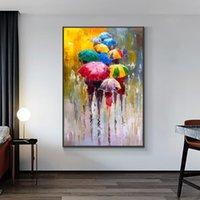 % 100 El Yağ Renkli Şemsiye Düğün Dekorasyon İçin Living Room With The Rain Tuval Özet İnsanlar On Boyama Boyalı