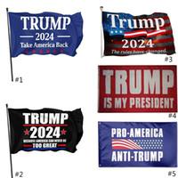 3 * 5 pies 2024 Trump Flag 90 * 150cm EE. UU. Material de poliéster de la bandera de las elecciones presidenciales Trump 2024 Flags 5 estilo gratis DHL Ship HH21-56
