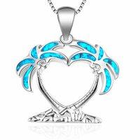 Кокосовая пальма кулон для пальмы Огонь Опал Острова Ювелирные Изделия Чистое 925 Стерлинговое серебро Чудальза для женского подарка