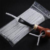 100 adet Pamuk Tütün Sigara Boru Temizleme Aracı Duman Boru Temizleyici Temizleme Fırçası Yumuşak Unbleached Emici Boru Temizleyici