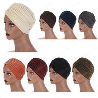 CAP TURBON CAP BLAINE Shimmer Glitter India Hat Мусульманский Hijab Женщины Chemo Headscarf Капот Исламская арабская арабская женская шляпа плиссированная эластичная новая