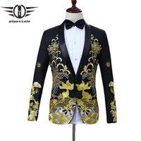 Herrenanzüge Blazer Plyesxale Herren Schwarz Gold Blazer Chinesischen Stil Blumenfisch Stickerei Männer Schal Kragen Männliche Bühnenabzug Abschlussball Q108