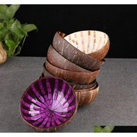 Großhandel vietnamesische natürliche Kokosnussschale Schüssel dekorative hölzerne Lagerschüssel Hand-lackierte bunte Ornament Candy Bow Sqcujr Bdenet