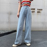 2020 new women' s jeans cotton loose high waist retro je...