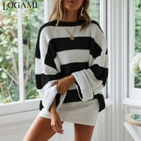 LOGAMI Colored Striped Pullover Women'S Loose Casual Knitted Sweaters And Pullovers Red Black And White 201017