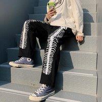 Мужские брюки Свободные гарем Вышивка Графический Печата Контрастность Джоггер Брюки Женщины Человек Улавная Одежда Корейский Harajuku Панк Хип Хоп