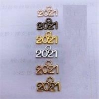 Em estoque 2021 números colar multicolor pingente 14 * 10mm pingentes decorações antigas liga de prata acessórios de jóias por atacado 81 p2