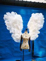 Nuovo arrivo Adulti Donna Uomo elegante Valuable bianco puro della piuma dello struzzo di angelo fata ala Dancing fotografia decorazione di nozze