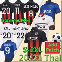 20 21 Maillot de pie OGC Nice Fútbol Jersey 2020 2021 Atal Todibo Dolberg Pierre Lees-Melou Ignatius Ganago Wylan Cyprien Football Shirt