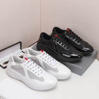 Men America's Cup XL Кожаные кроссовки Высококачественные Патентные Кожаные Плоские Тренажеры Черное Сетчатые Кручанные Повседневные Туфли Наружные Бегунистые Тренеры