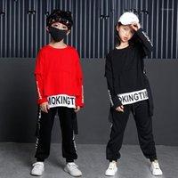 Bühnenkleidung Kinder Ballsaal Tanzen Kostüm Kleidung Casual Hemd Sweatshirt Tops Hosen Hip Hop Kleidung Für Mädchen Jungen Jazz Dance Kostüm1