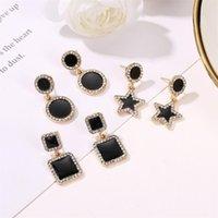 Coreano nuovo cinque orecchini stella a cinque punte cerchio quadrato geometrico orecchio drop drop donne in lega diamante pendenti gioielli orecchini gioielli all'ingrosso