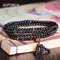 Бисероплетенные, пряди подлинные натуральные черные обсидианы 216 маленькие бусины браслет для женщин и мужчин молитвенные ювелирные изделия Будды многослойные кресла браслет1