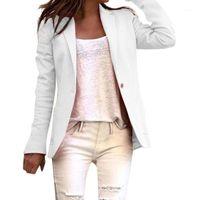 Fêmeas femininas blazers escritório senhora blazer manga comprida cor sólida botão botão terno casaco feminino casaco básico azul branco azul branco outono