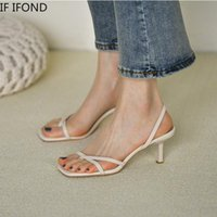 Sandálias Se Ifond Verão Flip Flops High Heel Shoes para Mulheres Vintage Square Toe Toe Strap Feminino Slides Party