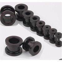 100pcs / lot Mix 2-10mm Vite in acciaio inox Acciaio inox nero Black Plug Tunnel Tunnel Piercing Body Gioielli J80ue