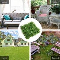 Grass artificiel DecDeal 19.6 * 19.6 pouces verte carré herbe artificielle artificielle gazeuse tapis de coureur, ornement de jardin DIY artisanat décoration1
