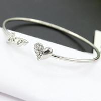 Pulseras del encanto espacios en blanco para el oro cristalino plateado Mujeres Amor del corazón del melocotón de apertura brazaletes de las pulseras